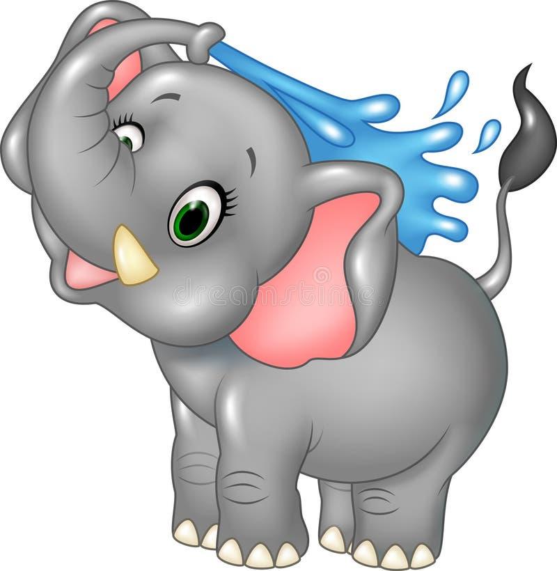 Bespuitende water van de beeldverhaal het gelukkige olifant stock illustratie