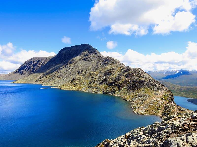Besseggen里奇在尤通黑门山脉国家公园 免版税库存照片