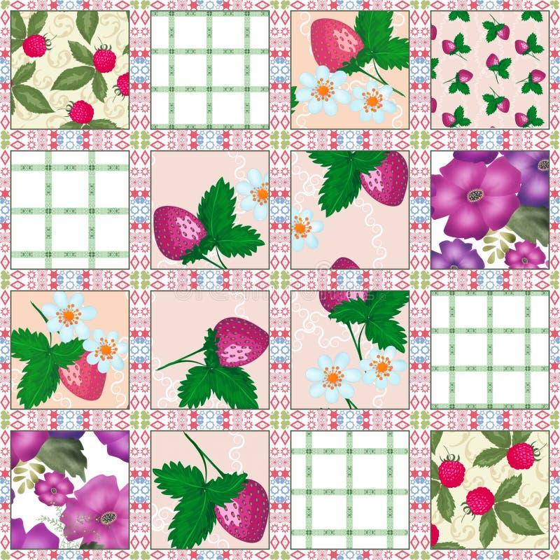 Bessen van het lapwerk de naadloze patroon vector illustratie