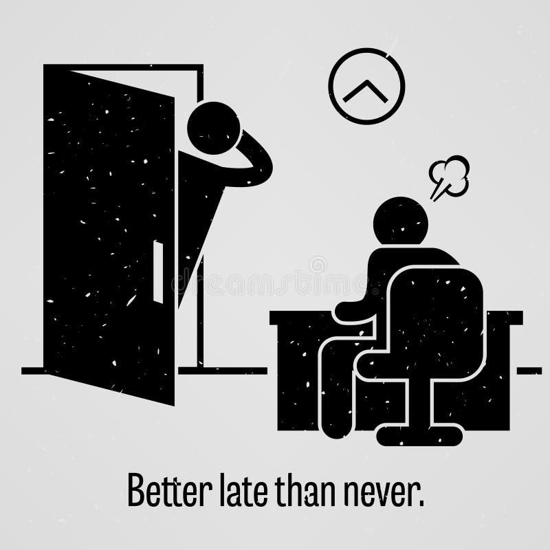 Besser spät als nie Sprichwort vektor abbildung