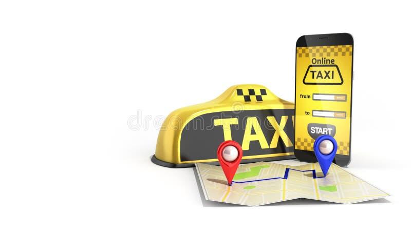 Beställa conce för trans. för internettjänst för taxitaxi en online- stock illustrationer