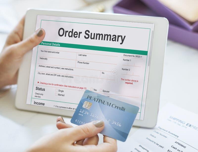 Beställa det summariska begreppet för formen för beställning för köpet för lönsnedsteget arkivfoton