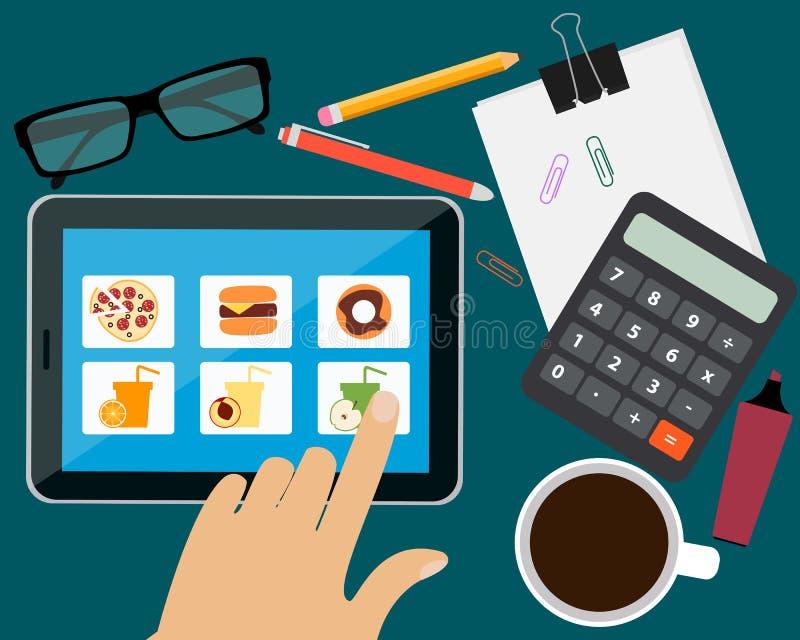 Beställa mat stock illustrationer