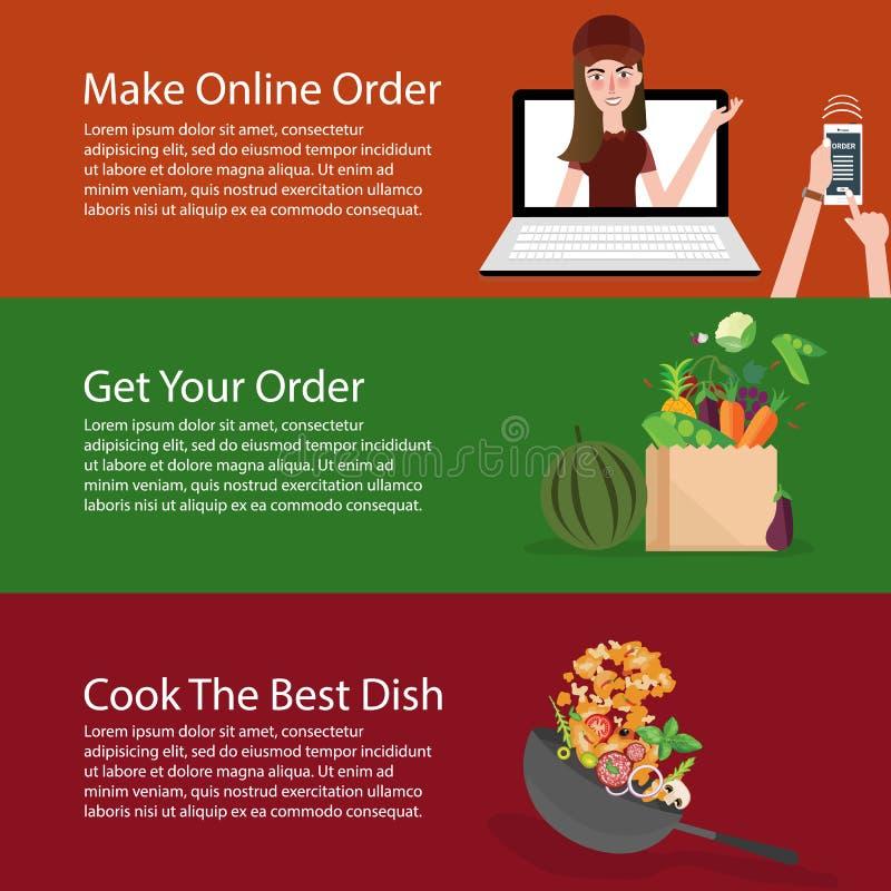 Beställa online-livsmedel får grönsaken och lagar mat den baneruppsättningen stock illustrationer
