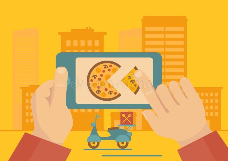 Beställa pizzaleveransapplikation royaltyfria foton