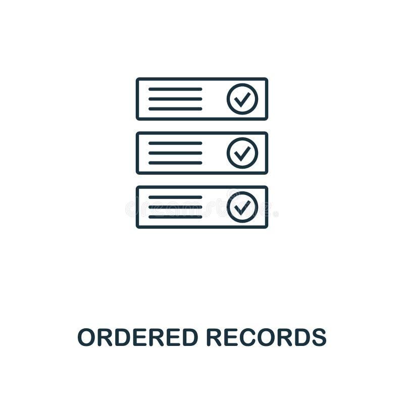 Beställd rekordöversiktssymbol Monokrom stildesign från crypto valutasymbolssamling Ui Perfekt enkelt för PIXEL royaltyfri illustrationer