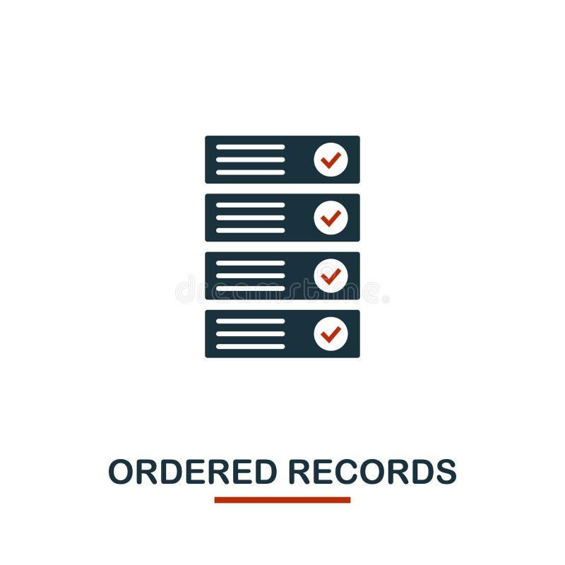Beställd rekordsymbol Idérika två färger planlägger från crypto valutasymbolssamling Den enkla pictogramen beställde rekord stock illustrationer