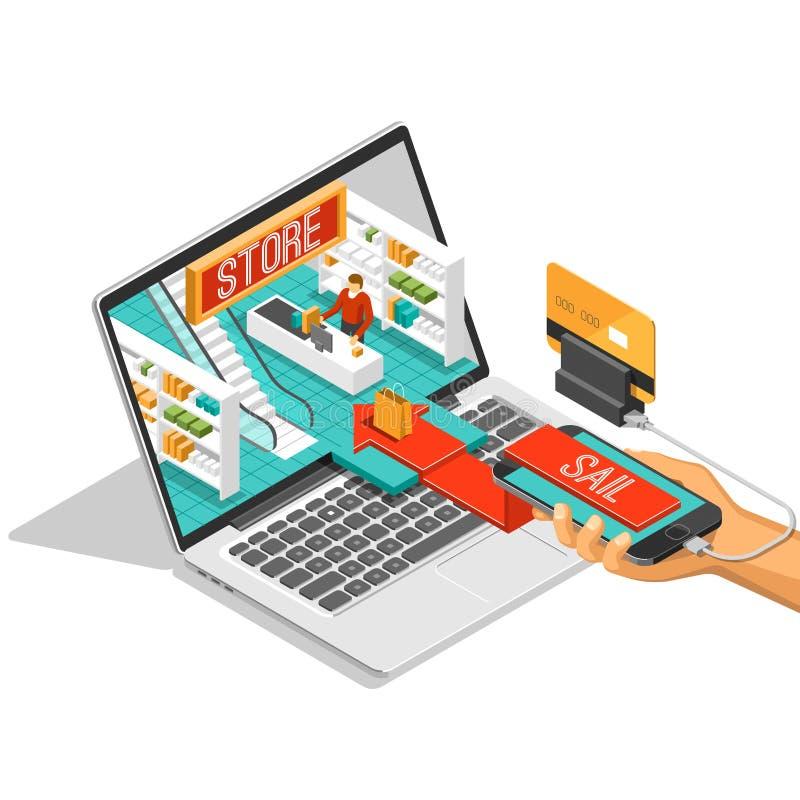 Beställer den isometriska skuggaillustrationen för online-shopping med mobiltelefonen, bärbara datorn, diversehandel den isolerad