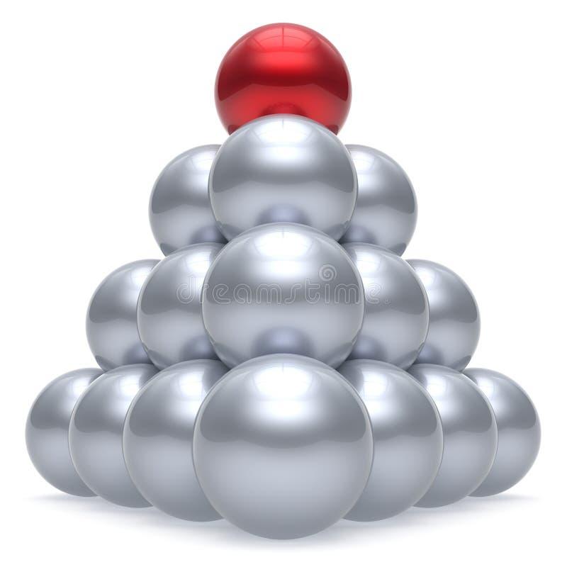 Beställning för röd överkant för korporation för hierarki för boll för pyramidledaresfär vektor illustrationer