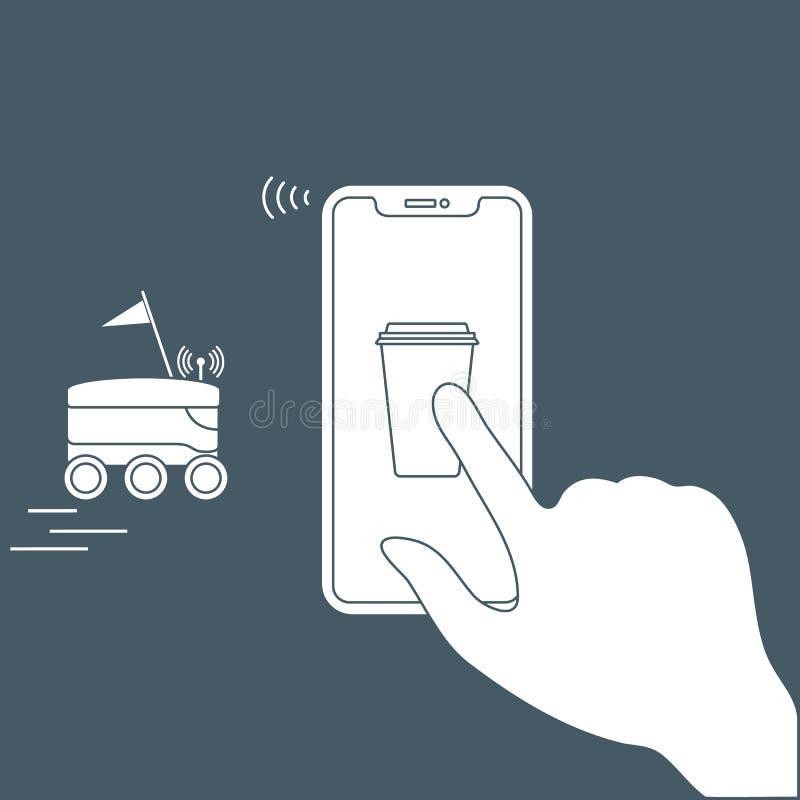 Beställning i den smarta telefonen app, leverans med roboten stock illustrationer
