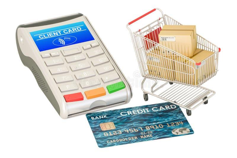 Beställnings-, betalning- och leveransbegrepp Kreditkort och shoppaca royaltyfri illustrationer