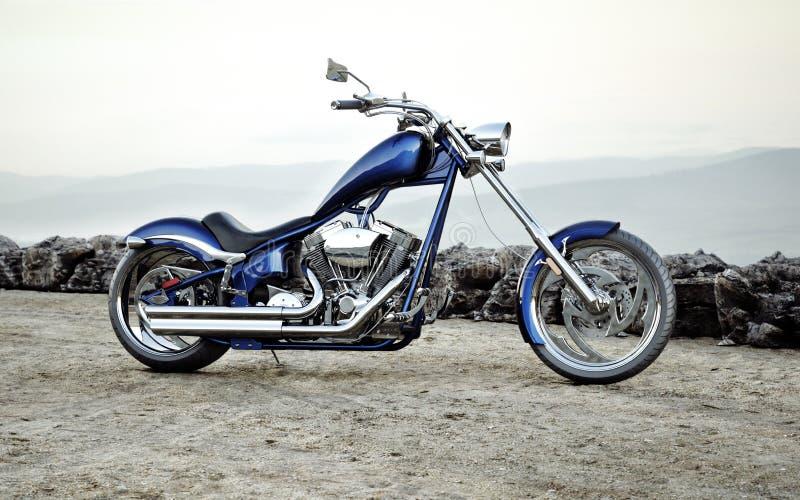 Beställnings- blå motorcykel med en bergskedjalandskapbakgrund vektor illustrationer