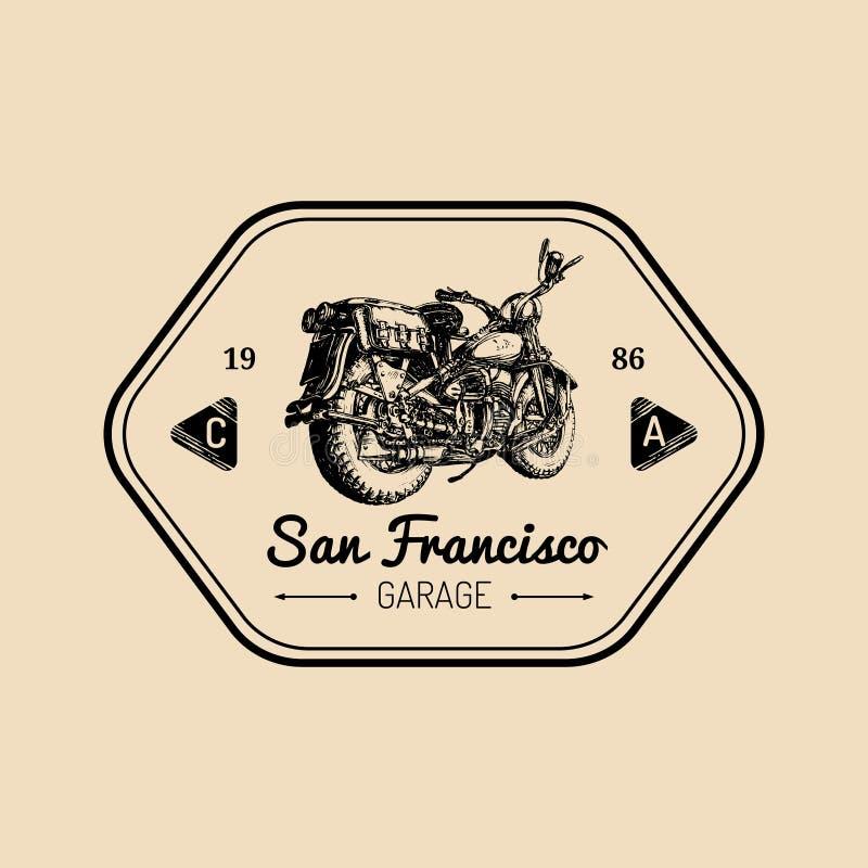 Beställnings- garagelogo Dragen motorcykel för vektor hand Tappning specificerade den retro cykelillustrationen för avbrytarföret vektor illustrationer
