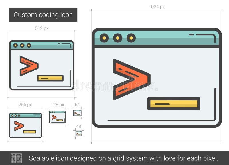 Beställnings- kodifiera linje symbol royaltyfri illustrationer