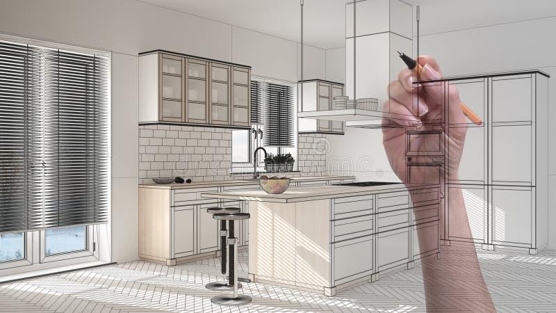Beställnings- modernt minimalist vitt kök för handteckning Anpassad oavslutad projektarkitekturinre royaltyfri foto