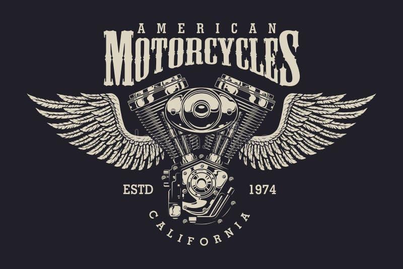 Beställnings- motorcykeletikett för tappning vektor illustrationer