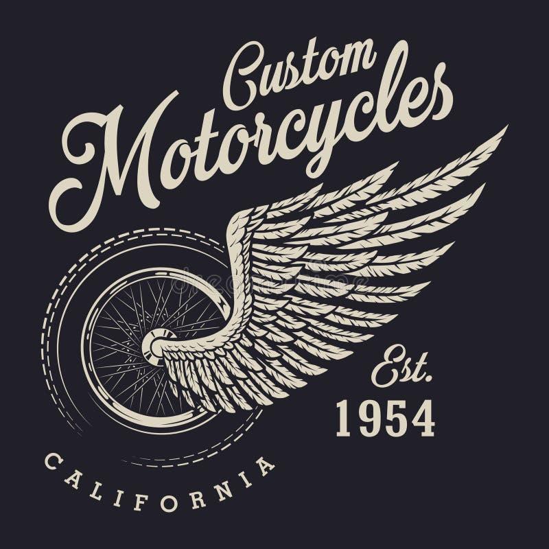Beställnings- motorcykellogo för tappning vektor illustrationer