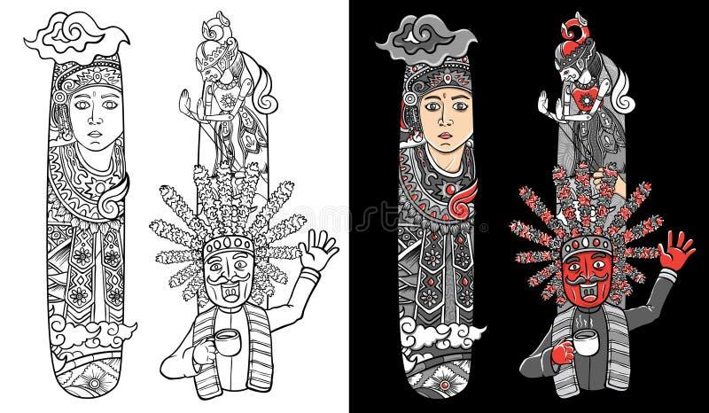 Beställnings- stilsort för illustration som märker klotterdansaren och wayang indonesia stock illustrationer