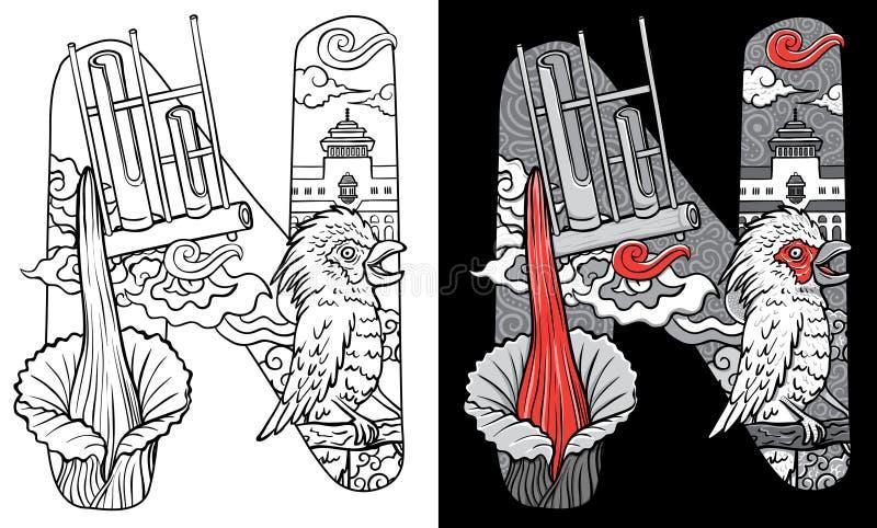 Beställnings- stilsort som märker klotterillustrationfågeln och blomman av indonesia stock illustrationer