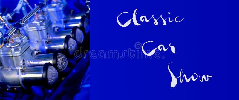 Beställnings- tappningmotorbaner med klassisk Car Showtext royaltyfri bild