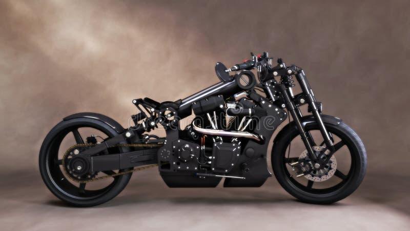 Beställnings- unik svart motorcykel med studiobakgrundbakgrund vektor illustrationer