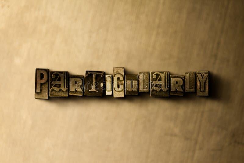 BESTÄMT - närbild av det typsatta ordet för grungy tappning på metallbakgrunden stock illustrationer