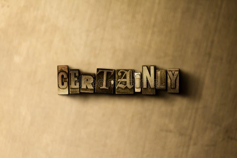 BESTÄMT - närbild av det typsatta ordet för grungy tappning på metallbakgrunden royaltyfri illustrationer
