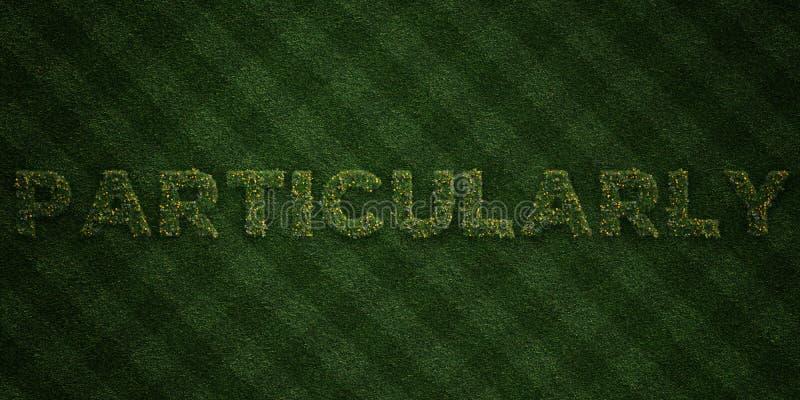 BESTÄMT - nya gräsbokstäver med blommor och maskrosor - 3D framförde fri materielbild för royalty vektor illustrationer