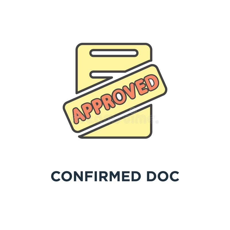 bestätigte Doc.-Ikone, anerkannter Stempel auf dem Stapel von Papierblättern, Ermächtigungszustimmungsdokument, anerkannte Anwend vektor abbildung