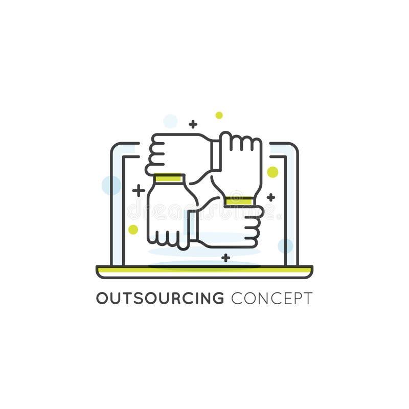 Beståndsdel av att lägga ut Convept med den online-nätverket, bärbara datorn och händer förbindelse tillsammans royaltyfri illustrationer