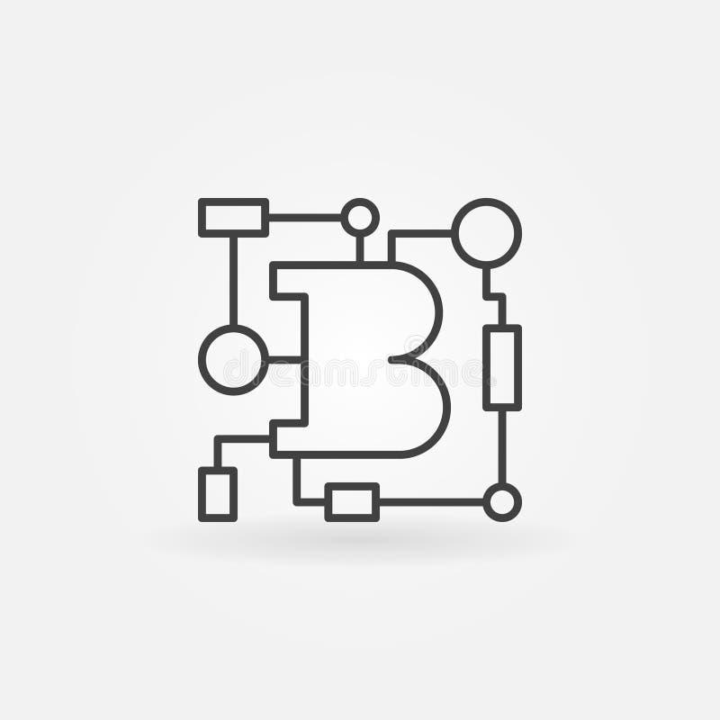 Beståndsdel eller symbol för logo för översikt för Blockchain teknologivektor royaltyfri illustrationer