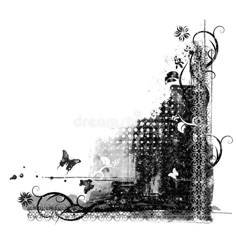 Beståndsdel för blom- design för Grunge - dekorativt hörn stock illustrationer