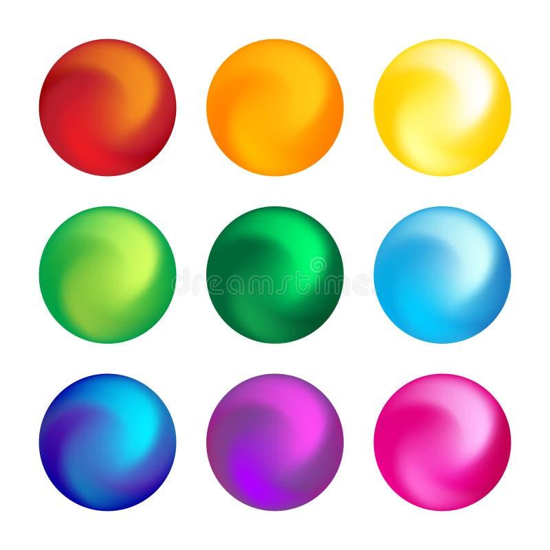 Beståndsdel för fastställd design för regnbågefärgboll tredimensionell vektor illustrationer