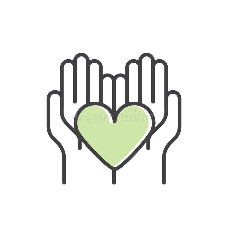 Beståndsdel för ideella organisationer och donationmitt Fundraising symboler Crowdfunding projektetikett vektor illustrationer