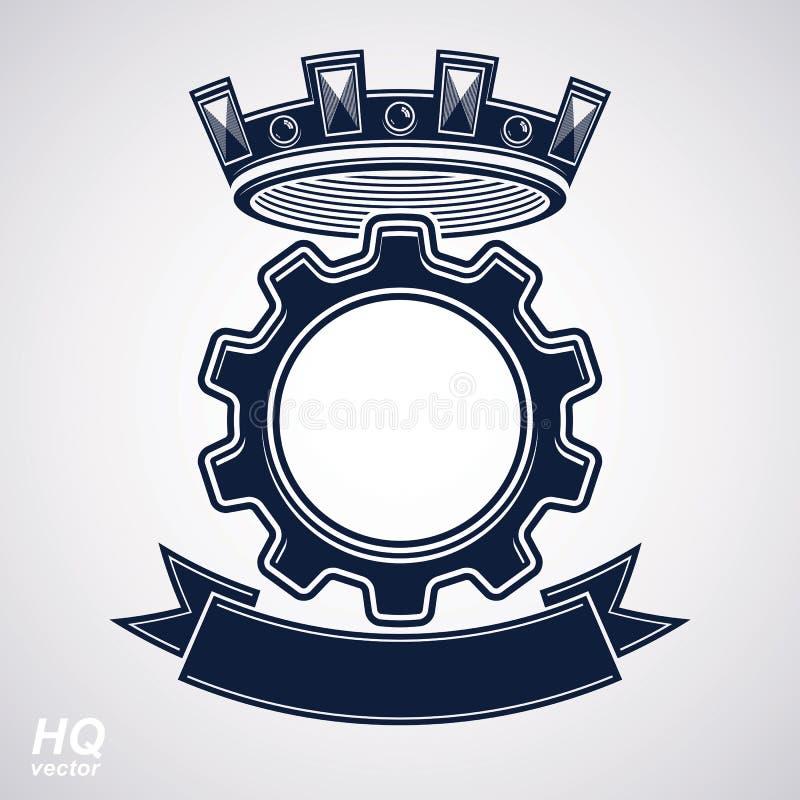 Beståndsdel för industriell design för vektor, kuggehjul med en krona och svart dekorativt curvy band Högkvalitativ tillverknings stock illustrationer