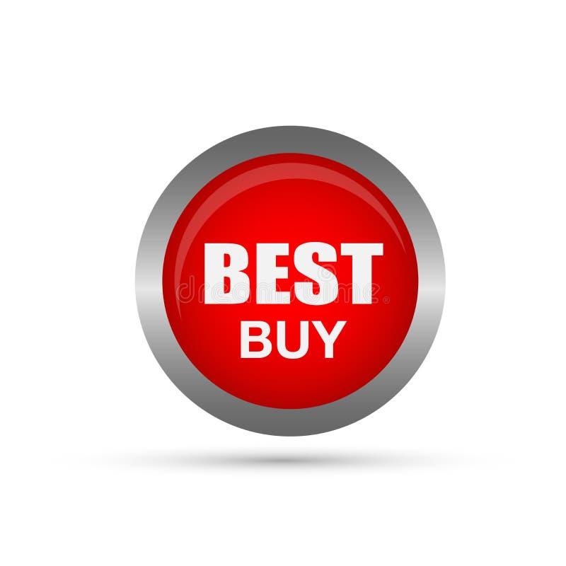 Beståndsdel för knapp för Best Buy försäljningssymbol på vit bakgrund royaltyfri illustrationer