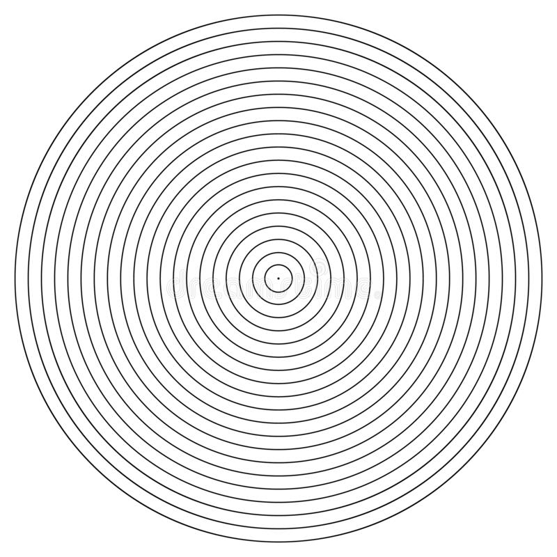 Beståndsdel för koncentrisk cirkel Svartvit färgcirkel Abstrakt vektorillustration för den solida vågen, monokromt diagram stock illustrationer
