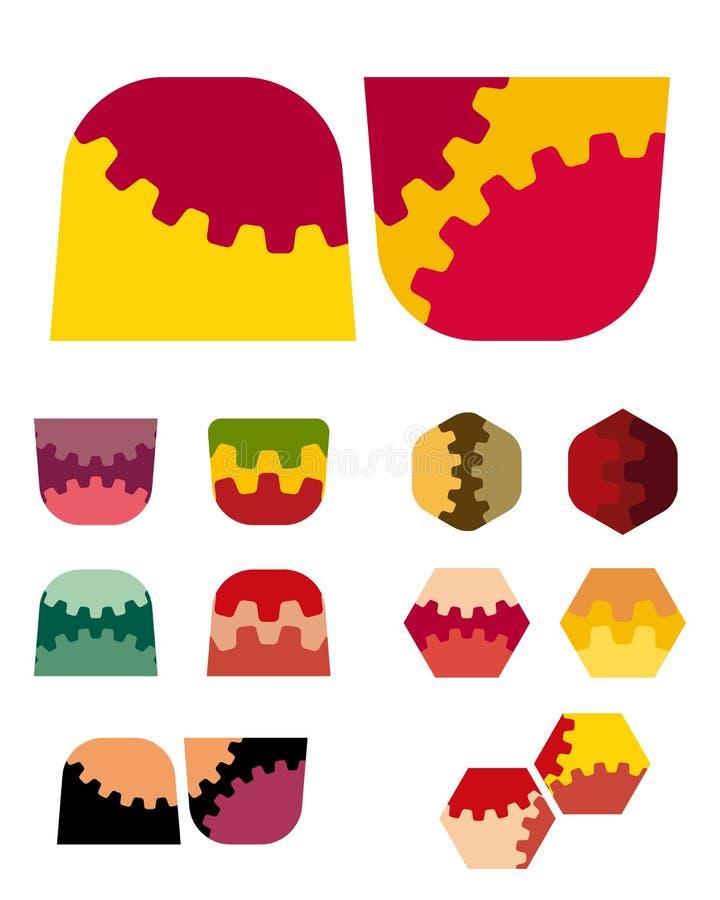 Beståndsdel för logo för designvektor trapezoidal sexhörnig. stock illustrationer