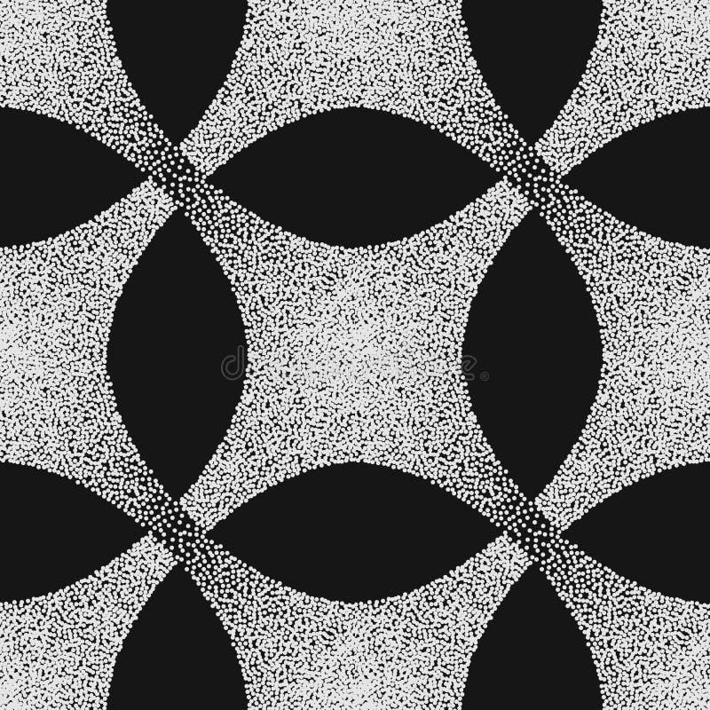 Beståndsdel för modell för vektorabstrakt begrepp prickig geometrisk Baserat på etniska prydnader Punktera tekniken pointillism stock illustrationer