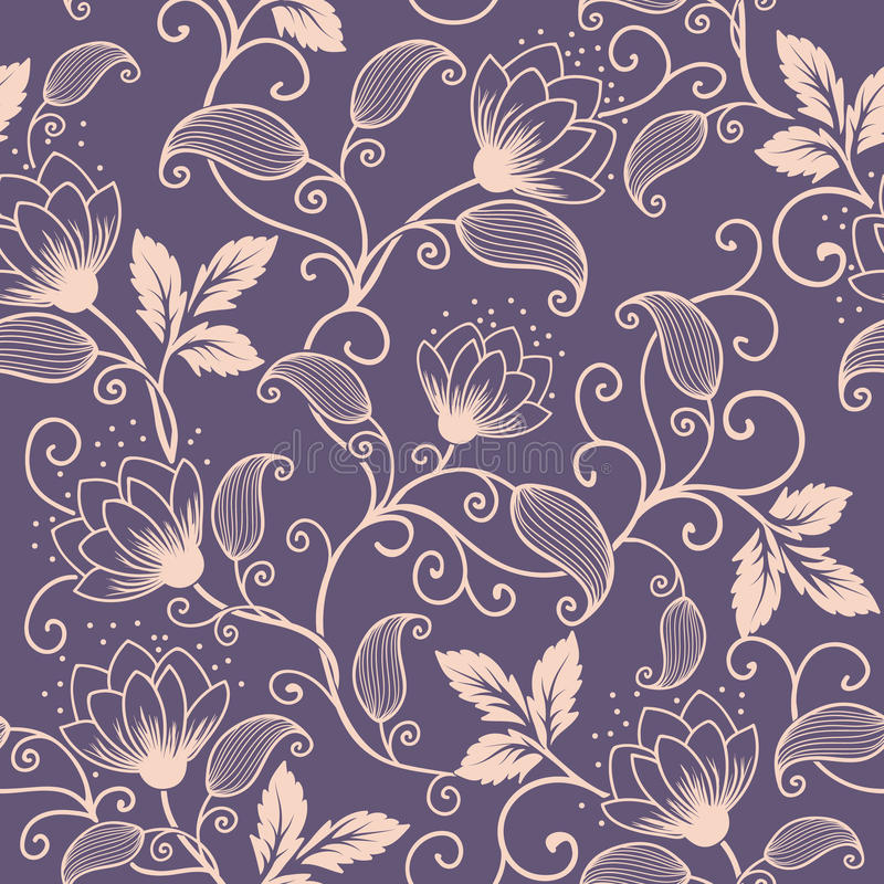 Beståndsdel för modell för vektorblomma sömlös Elegant textur för bakgrunder Klassisk lyxig gammalmodig blom- prydnad royaltyfri illustrationer