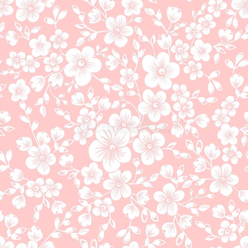 Beståndsdel för modell för vektorsakura blomma sömlös Elegant textur för bakgrunder Körsbärsröd blomning vektor illustrationer