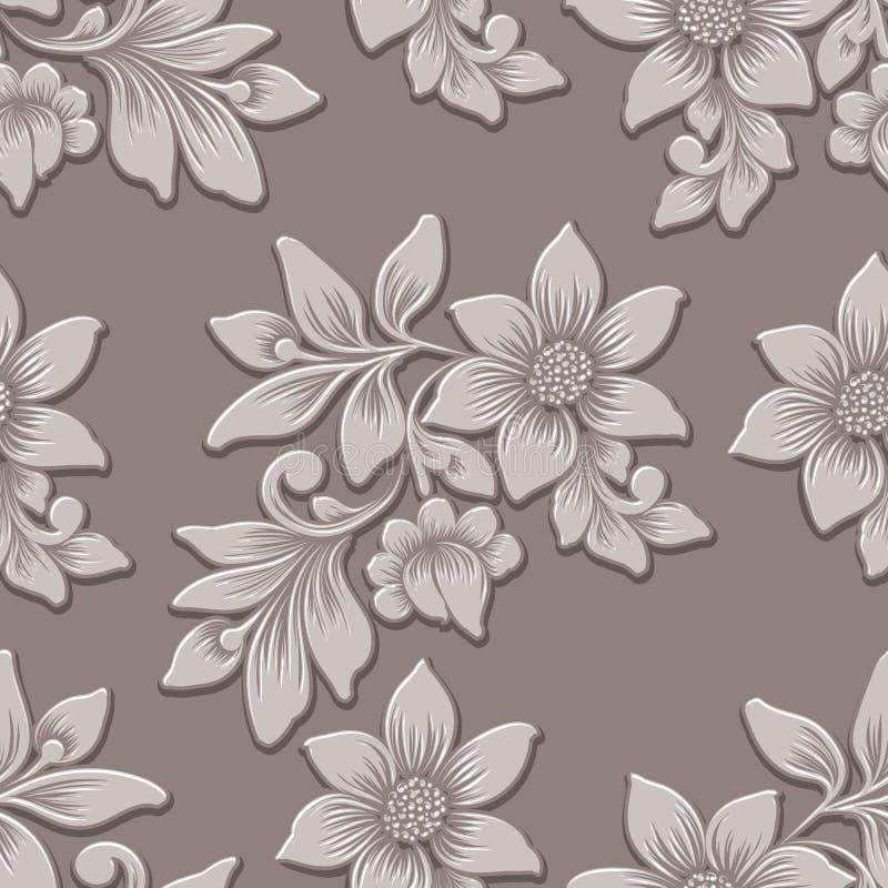 Beståndsdel för modell för volymetrisk blomma för vektor sömlös Elegant lyx utföra i relief textur för bakgrunder, sömlös textur  stock illustrationer