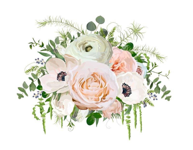 Beståndsdel för objekt för design för blommabukettvektor Persikarosa färgträdgård R vektor illustrationer