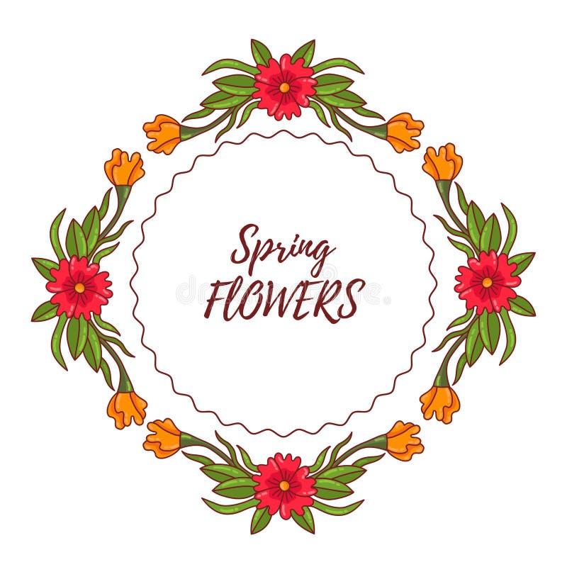 Beståndsdel för ram för klotterblommarunda dekorativ blom- stock illustrationer