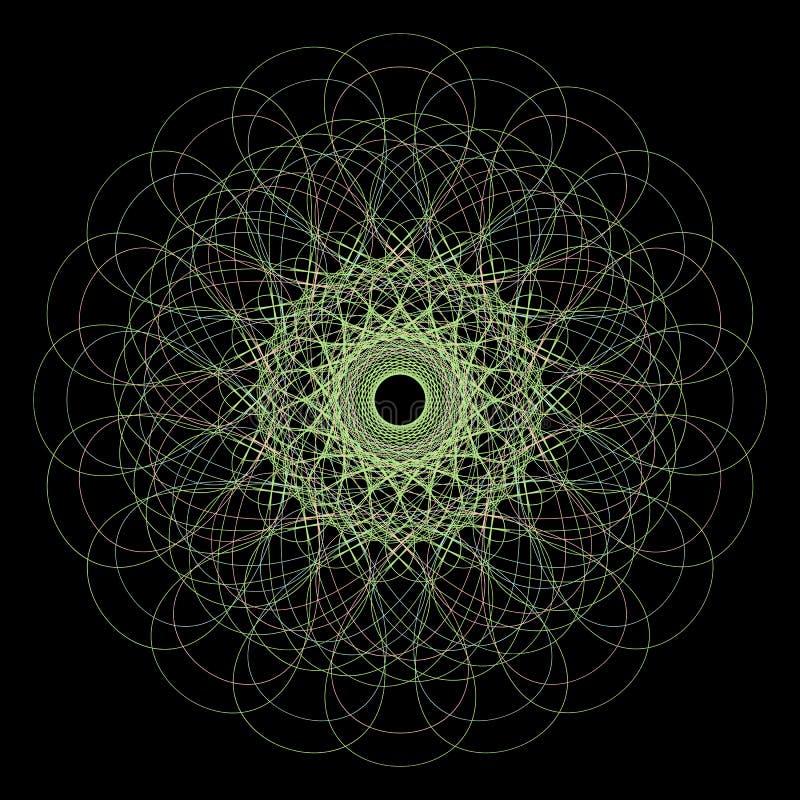 Beståndsdel för rosett för vektorguilloche dekorativ abstrakt kulör cirkelram vektor illustrationer