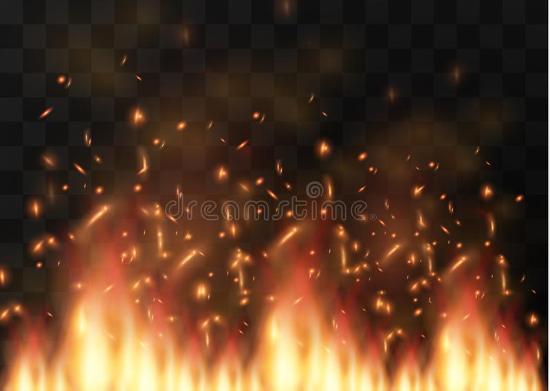 Beståndsdel för specialeffekt för realistisk brand för vektor genomskinlig En varm flamma brister campfire Värmesamkopiering Vekt royaltyfri illustrationer