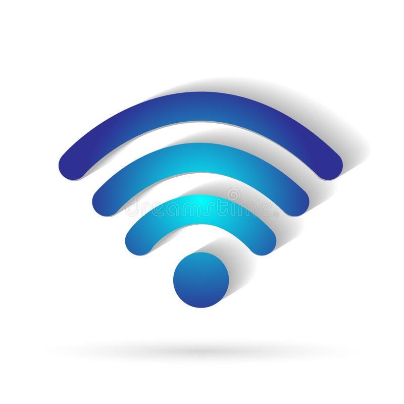 Beståndsdel för symbol för anslutning 3d för Wifi symbolssymbol trådlös på vit bakgrund stock illustrationer