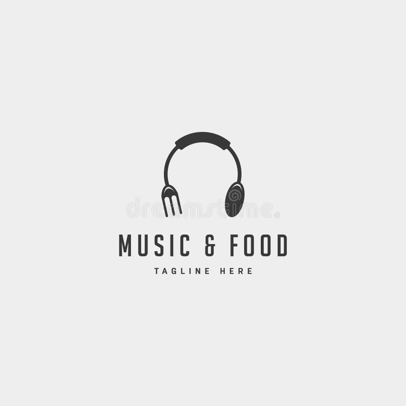 beståndsdel för symbol för illustration för vektor för design för logo för musikmat enkel plan stock illustrationer