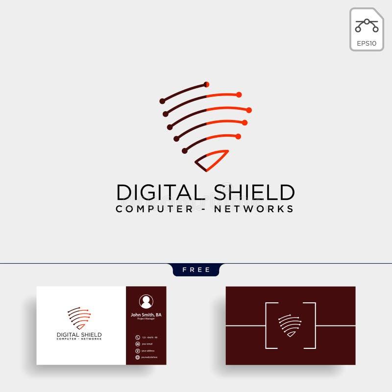 beståndsdel för symbol för illustration för vektor för mall för logo för sköldskyddsnätverk stock illustrationer