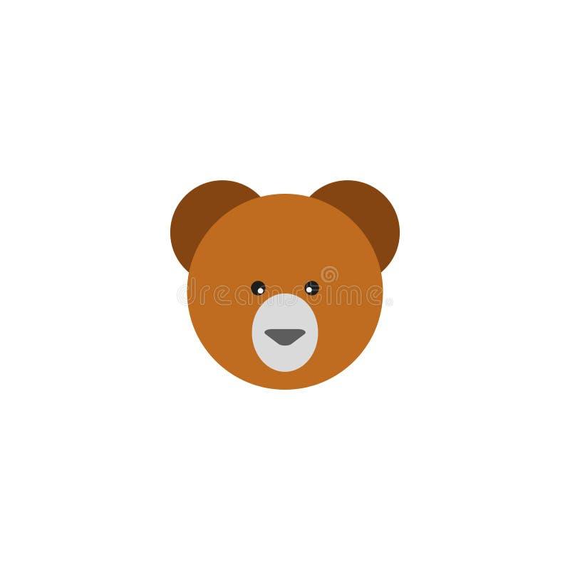 Beståndsdel för symbol för nallebjörn plan illustration av symbolen för nallebjörn som isoleras framlänges på ren bakgrund för di stock illustrationer